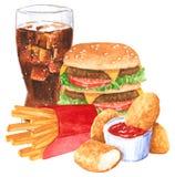 Grupo do Fastfood, ketchup, Hamburger, fies franceses, cola, pepitas de galinha fotografia de stock
