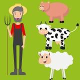 Grupo do fazendeiro Projeto liso Vetor ilustração royalty free