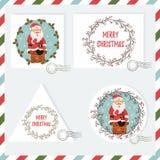 Grupo do feriado de fundos selos com a Santa que vai para baixo à chaminé ilustração stock