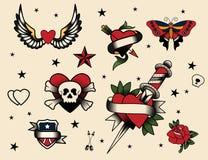 Grupo do flash da tatuagem ilustração royalty free