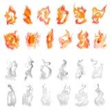 Grupo do fogo e do fumo ilustração stock