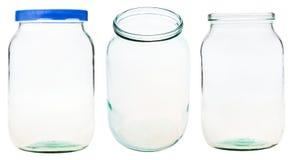 Grupo do frasco de vidro do galão isolado no branco fotos de stock royalty free