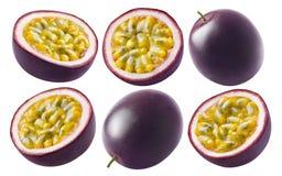Grupo do fruto de paixão isolado no fundo branco foto de stock