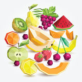 Grupo do fruto do polígono, grupo redondo Fotos de Stock