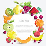 Grupo do fruto do polígono, quadro redondo Fotografia de Stock Royalty Free