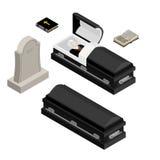 Grupo do funeral Homem inoperante no caixão Abra o caixão preto com mortos Ho Imagens de Stock Royalty Free