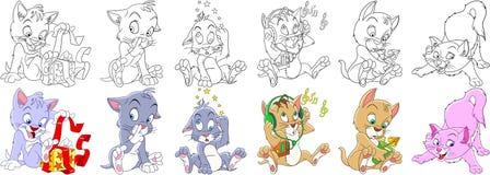 Grupo do gatinho do gato dos desenhos animados ilustração royalty free