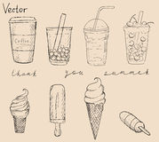 Grupo do gelado e de chá do coffe dos coctails Fotos de Stock