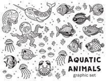 Grupo do gráfico de vetor dos animais aquáticos ilustração stock
