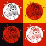 Grupo do guerreiro do samurai Cópia para o t-shirt Foto de Stock Royalty Free