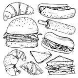 Grupo do hamburguer, dos sanduíches e dos croissant Ilustração tirada mão do esboço do vetor do esboço ilustração royalty free
