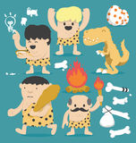 Grupo do homem das cavernas dos desenhos animados da ilustração Fotos de Stock