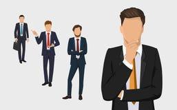 Grupo do homem de negócio Vector a coleção de retratos completos do comprimento dos executivos Homem de negócios elegante no fund Fotografia de Stock