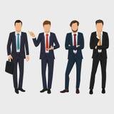 Grupo do homem de negócio Vector a coleção de retratos completos do comprimento dos executivos Homem de negócios elegante no fund Fotos de Stock