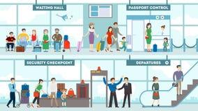 Grupo do interior do aeroporto ilustração royalty free