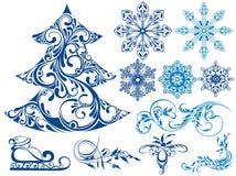 Grupo do inverno de elementos da neve Fotografia de Stock Royalty Free