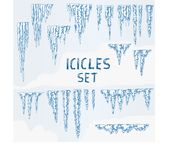 Grupo do inverno do gelo dos sincelos Imagem de Stock