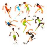 Grupo do jogador de futebol, jogo dos atletas do futebol, retrocesso, treinamento e ilustrações praticando do vetor em um branco ilustração royalty free