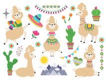 Grupo do lama Alpaca dos desenhos animados dos lamas do bebê, Lama selvagem Vetor dos elementos do convite da menina ilustração stock