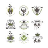 Grupo do logotipo do competiam do golfe, etiquetas para o campeonato do golfe, clube do vintage de esporte, ilustração do vetor d ilustração do vetor