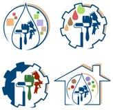 Grupo do logotipo da pintura de casa ilustração royalty free