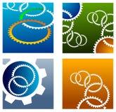 Grupo do logotipo das rodas de engrenagem ilustração stock