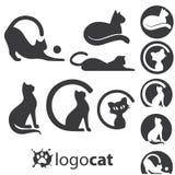 Grupo do logotipo do gato Fotografia de Stock