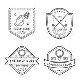 Grupo do logotipo do golfe do vetor Coleção linear das ilustrações do clube desportivo para ícones, crachás e etiquetas Foto de Stock Royalty Free