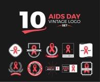 Grupo do logotipo do vintage do dia de 10 SIDA Imagem de Stock
