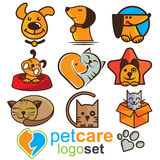 Grupo do logotipo dos cuidados dos animais de estimação Fotografia de Stock Royalty Free