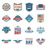 Grupo do logotipo dos veteranos, estilo liso ilustração royalty free