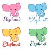 Grupo do logotipo do elefante, sinais, símbolo da mente, treinamento, confiança, divertimento, proteção, memória, força Imagens de Stock Royalty Free