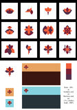 Grupo do logotype do estilo do teste padrão de flor da simetria Imagens de Stock