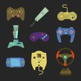Grupo do manche e do controlador do jogo Vários dispositivos Vetor liso mim Fotografia de Stock Royalty Free