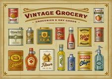Grupo do mantimento do vintage ilustração do vetor