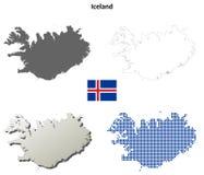 Grupo do mapa do esboço de Islândia Fotos de Stock