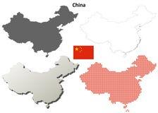 Grupo do mapa do esboço de China Imagens de Stock