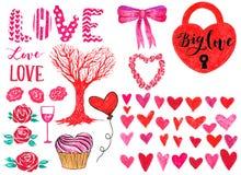Grupo do marcador de elementos do dia de são valentim para o projeto Quadro decorativo, rotulação, corações, rosas, fechamento, b Imagem de Stock Royalty Free