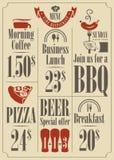 Grupo do menu Fotografia de Stock Royalty Free
