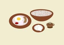 Grupo do menu do café da manhã Fotos de Stock
