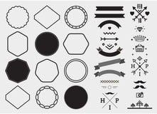 Grupo do molde do projeto do vetor, coleção para fazer o crachá, logotipo, selo Imagens de Stock Royalty Free