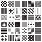 Grupo do Monochrome de testes padrões geométricos Somente cores preto e branco Fotografia de Stock Royalty Free
