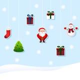 Grupo do Natal de brinquedos (árvore, Santa, boneco de neve, presente, botas) Imagem de Stock Royalty Free
