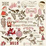 Grupo do Natal de elementos decorativos do vetor no estilo do vintage Fotografia de Stock Royalty Free