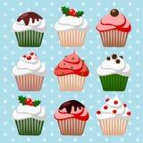 Grupo do Natal de queques e de muffin, ilustração Foto de Stock Royalty Free