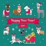 Grupo do Natal do vetor Cães na roupa do inverno Ilustração do Natal Felicitações no sinal Fotografia de Stock Royalty Free