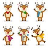 Grupo do Natal dos desenhos animados da rena Imagens de Stock Royalty Free