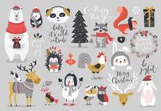 Grupo do Natal, estilo tirado mão - caligrafia, animais e outros elementos Fotos de Stock Royalty Free