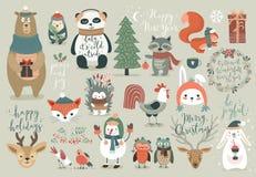 Grupo do Natal, estilo tirado mão - caligrafia, animais e outros elementos Fotografia de Stock