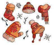 Grupo do Natal do vetor de símbolos do inverno ilustração do vetor